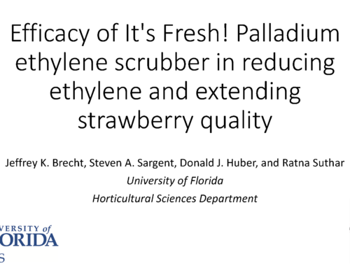 Efficacy of It's Fresh! Palladium ethylene scrubber in reducing ethylene and extending strawberry quality